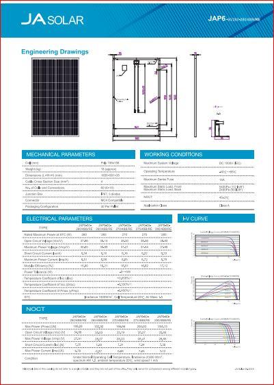 Сонячна панель полікристал JA SOLAR JAP6 60 275W 5BB