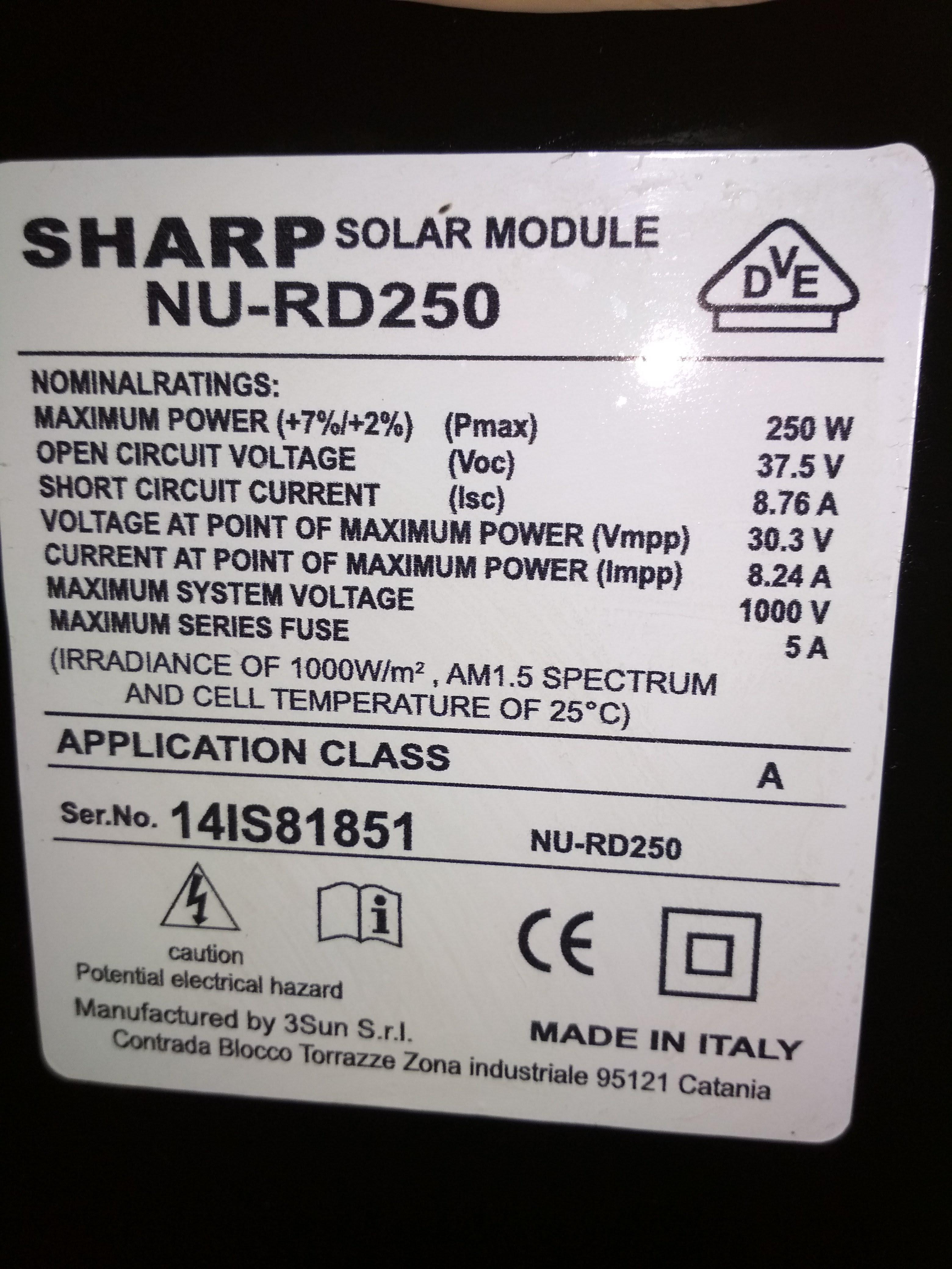 Сонячна панель Sharp NU-RD250 б\у