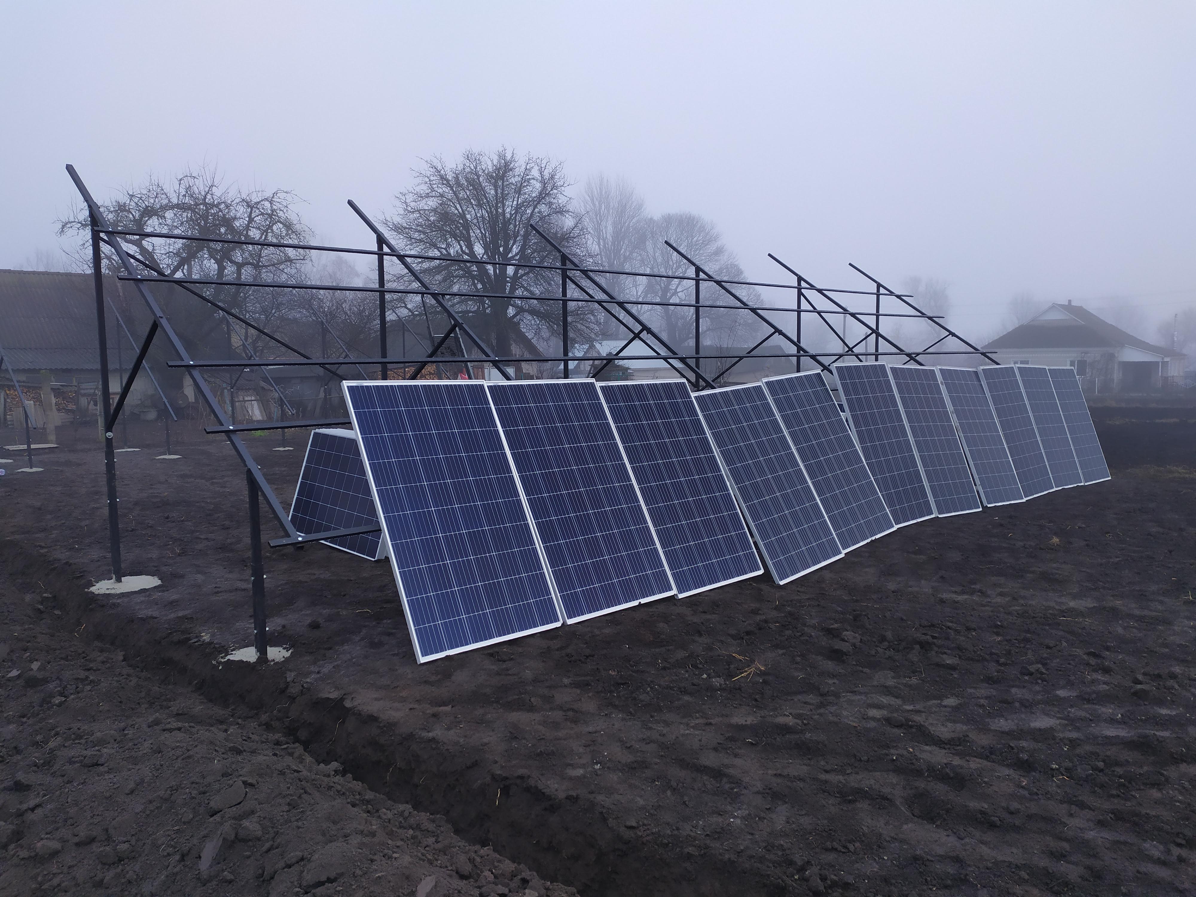 Металоконструкції для сонячних панелей на землі (наземна система кріплень)