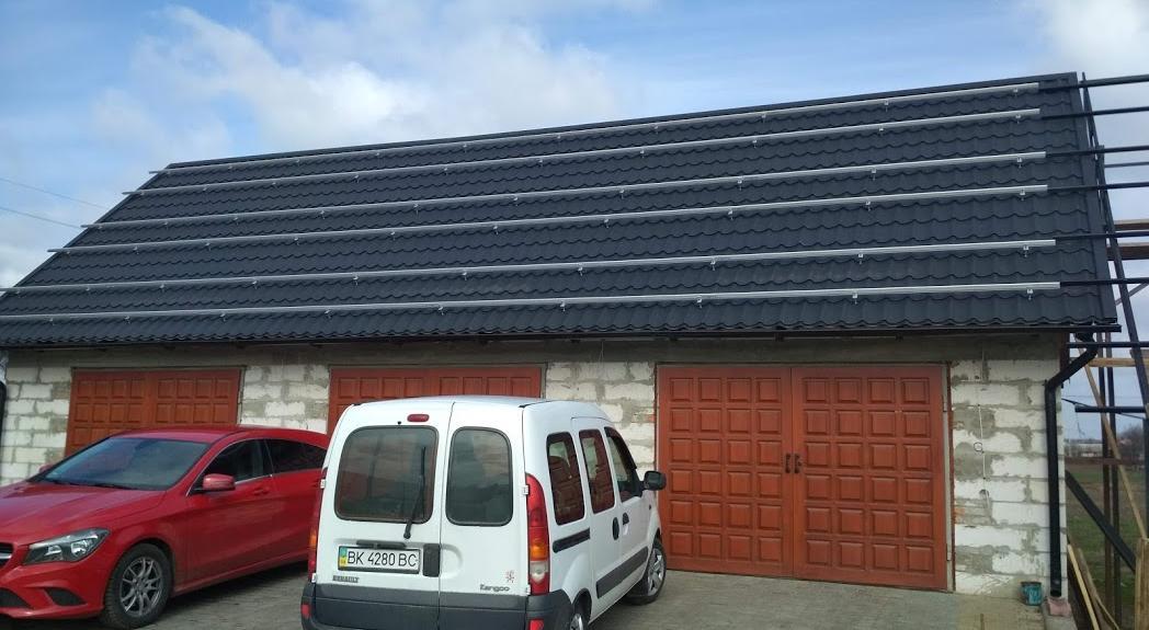 Cистема кріплення для сонячних панелей 30-ти шт (10 кВт) на даху з алюмінієвого профілю