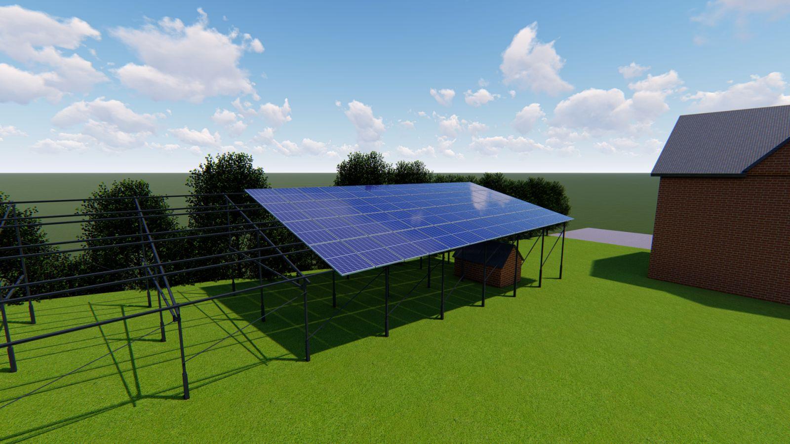 Наземна конструкція для розміщення 30-ти (10 кВт) сонячних панелей з чорного металу