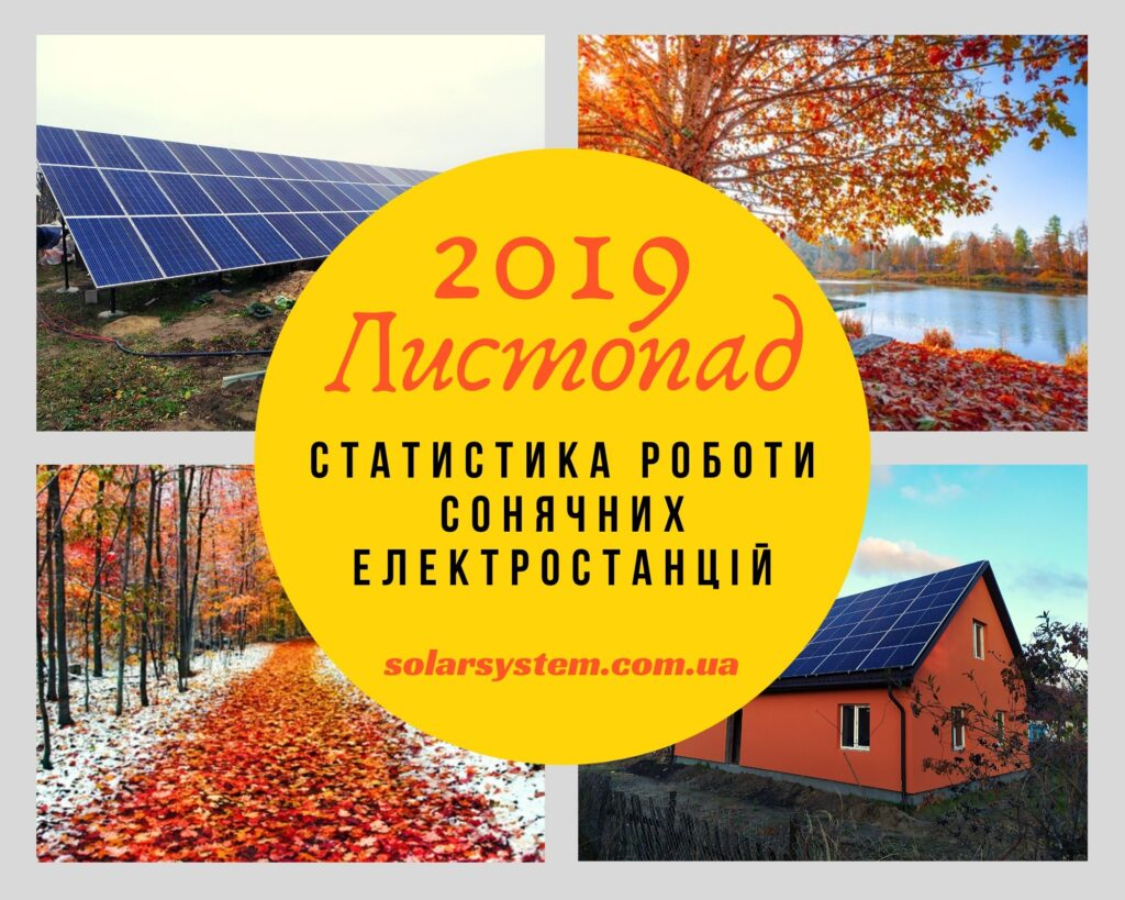 Показники генерації сонячних електростанцій за листопад 2019 року