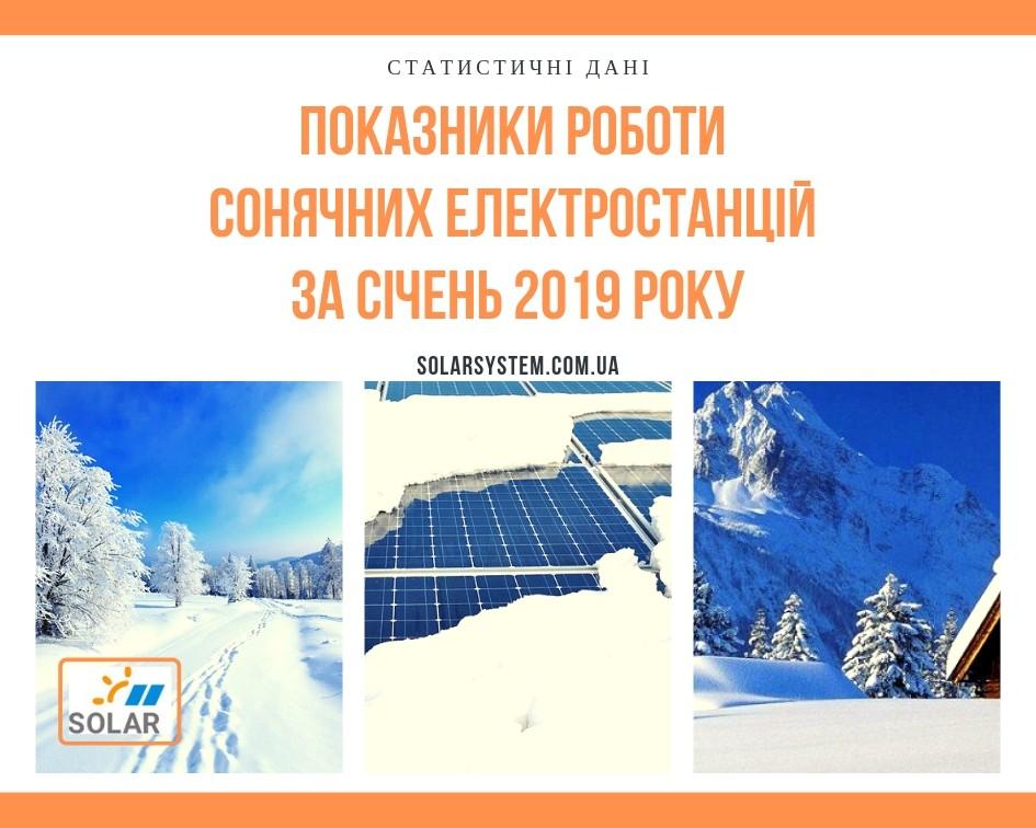 Показники генерації сонячних електростанцій під «Зелений тариф» за січень 2019 року