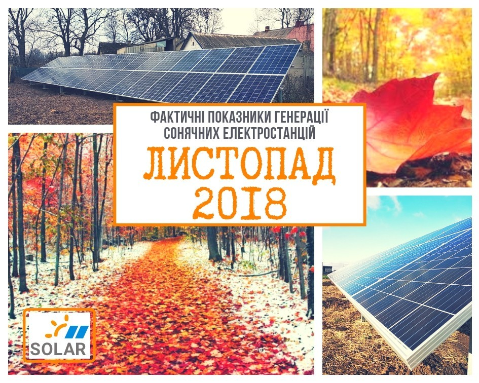 Фактичні показники генерації сонячних електростанцій під «Зелений тариф» за листопад 2018 року