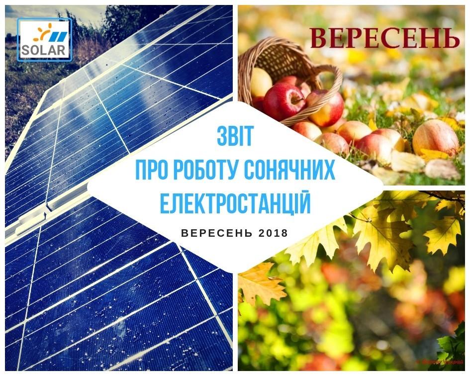 Звіт про роботу мережевих сонячних електростанцій за вересень 2018 року